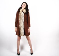 1960s Chocolate Brown Wool Princess Coat -70s Fur Coat - 1970s Princess Coats - The Little Romance Coat - 6501