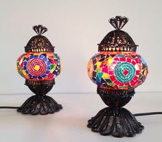 Pair of Small Colorful Turkish Mosaic Lamps