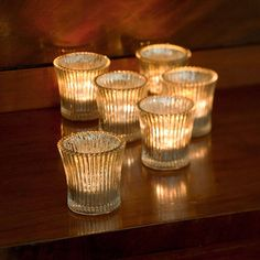 six fluted glass tea light holders by all things brighton beautiful | notonthehighstreet.com