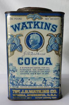 Old tins Vintage Watkins Cocoa Tin Getting The Most Out Of Your Closet Space For many of us, storage Vintage Tins, Vintage Labels, Vintage Kitchen, Vintage Antiques, Retro Advertising, Vintage Advertisements, Tin Can Alley, Spice Tins, Deco Boheme