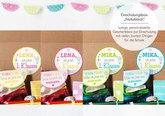 Glückwunschkarten - Einschulungsbox | Geschenkbox Notizblock - ein Designerstück von naehfein-berlin bei DaWanda