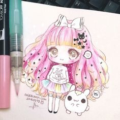 My store is still closed for updating  So I colored this ^^ ❄️✨✨#chibibunny #chibis #anime #pink #cute #kawaii