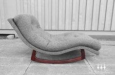 Rare mid century modern rocking chaise lounge chair designed by Adrian Pearsall for Craft Associates.