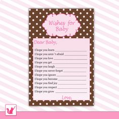 Printable polka dots wishes for baby card - baby shower girl hot pink Baby Shower Party Games, Baby Shower Gifts For Boys, Baby Shower Activities, Party Activities, Shower Games, Baby Shower Card Sayings, Baby Shower Cards, Baby Shower Centerpieces, Baby Shower Decorations