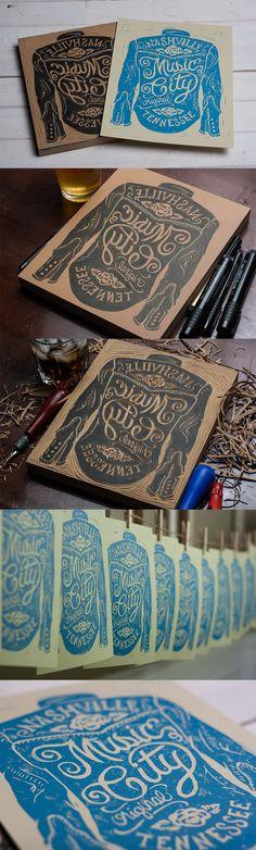 Block printing - Illustration - Hand lettering - Music-city-process
