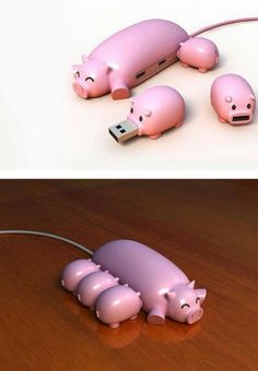 Cute little USB piggies. The 3 little piggies must be USB :D Objet Wtf, Tout Rose, Der Computer, This Little Piggy, Cute Pigs, Usb Hub, Cool Gadgets, Tech Gadgets, House Gadgets