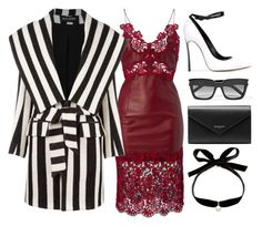 White, Black & Red by carolineas on Polyvore featuring polyvore, fashion, style, Balmain, Casadei, Balenciaga, Mateo, Yves Saint Laurent and clothing