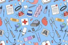 Doodle pattern Medical by Netkoff on Creative Market