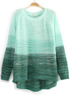 Green Color Block Hollow-Out Irregular Blend Sweater, $40.41