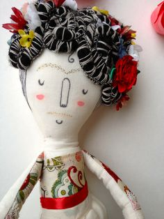 Frida Kahlo- Art Doll OOAK- Plush. $70.00, via Etsy.