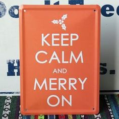 "Vintage Metal Signs ""KEEP CALM AND MERRY ON"" Pub Wall Decor"