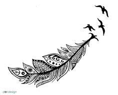 zentangle style feather tattoo illustration by Moran Bazaz Gilboa | pandesign studio