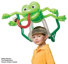 "Fun twisted frog #balloon #hat by Debbie Stevens of The Twisted Ones in Ontario, Canada. Featured in #45 of ""Balloon Magic - The Magazine,"" a Qualatex publication for balloon twisters. Click through to subscribe and get step-by-step figure instructions, balloon artist spotlight stories, business advice, and more."