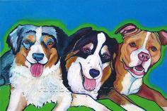 Three Amigos original dog art, acrylic on canvas