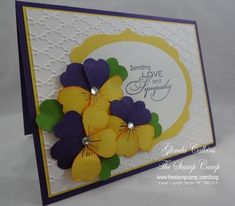 Create Pansies with Pansy Punch. Cut apart, color edges and assemble - Pansies Side view Paper Punch Art, Punch Art Cards, Hand Made Greeting Cards, Greeting Cards Handmade, Cricut Cards, Stampin Up Cards, Paper Crafts Magazine, Card Tutorials, Video Tutorials