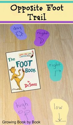 Day/night, high/low, left/right…Practice opposite pairs with The Foot Book trail game via @growingbbb.
