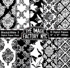 Black & White Vintage Wallpaper and Damask by TheImageFactoryNYC