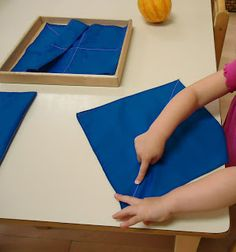 """To the Lesson!"" blog on folding cloths and other Montessori works"
