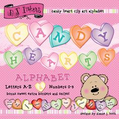 Create deliciously cute smiles for Valentine's Day with our sweet NEW 'Candy Hearts' alphabet. Perfect for Valentine parties (& mailboxes), love letters, happy headlines, sweetheart scrapbooks and MORE! Download includes letters A-Z and numbers 0-9 with a few extra characters, 2 cute borders & an adorable bear... just for you! See details for larger image &...