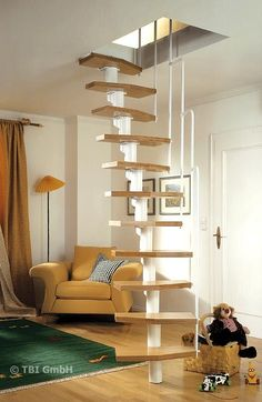 Few Breathtaking DIY Stairs Projects - In most of the houses stairs are just being used from taking you from one point to another. If your stairs do the same purpose only then you are missi. stairs Few Breathtaking DIY Stairs Projects - Diana Phoneix Tiny House Stairs, Attic Stairs, Attic Ladder, Attic Window, Attic Playroom, Attic Rooms, Attic Bathroom, Attic Library, Bathroom Ideas