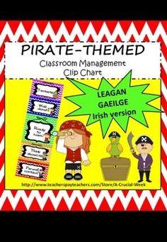 Classroom Management Clip Chart (IN IRISH, AS GAEILGE) - P Irish Language, Pirate Theme, Primary School, Kid Names, Classroom Management, Teaching Resources, Chart, Writing, Words