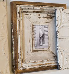 0E3B6457 Bamboo Picture Frames, Handmade Picture Frames, Antique Picture Frames, Old Frames, Wood Framed Mirror, Framed Wall Art, How To Make Frames, Distressed Frames, Gallery Wall Frames
