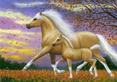 Palomino mare foal horse autumn leaves evening limited edition aceo print art #Realism