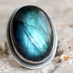 Labradorite in sterling silver cocktail ring.