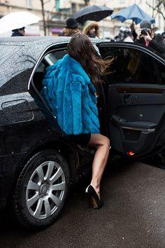 At Fendi, Milan « The Sartorialist Blue Fur Coat, Sartorialist, Next Clothes, Fashion Quotes, Outfit Posts, Fur Jacket, Style Me, Autumn Fashion, Milan Fashion