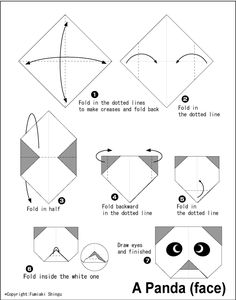 Panda(face) - Easy Origami instructions For Kids