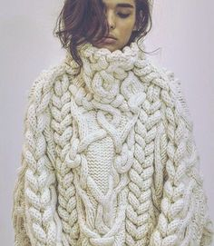 Aran sweater with intricate interlacing cables. Design by The Darker Horse