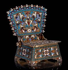 Крупная Солонка  форме стула! Серебро Эмаль! 1895год. Silver Enamel, Vase, Antiques, Interior, Crafts, Red, Antiquities, Indoor, Flower Vases