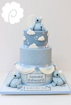 Baby boy christening naming cake, cute little bears #boy #blue #christening #bears