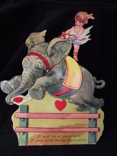 Vintage Valentine card large mechanical by LititzCarriageHouse