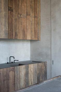 Old materials yet sleek kitchen. Kitchen - C Penthouse in Antwerp Belgium by Vincent Van Duysen Contemporary Kitchen Design, Modern House Design, Interior Design Kitchen, Modern Interior Design, Interior Architecture, Kitchen Taps, New Kitchen, Kitchen Ideas, Kitchen Cabinets