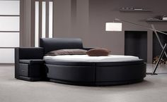 Modrest Black Leatherette Round Queen Size Bed Frame with Storage