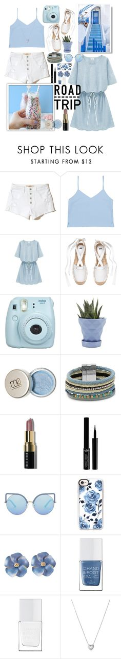 """""""Blue Summer"""" by herestoteenagememories ❤ liked on Polyvore featuring Hollister Co., Fujifilm, Chive, Design Lab, Bobbi Brown Cosmetics, Giorgio Armani, Matthew Williamson, Casetify, The Hand & Foot Spa and Links of London"""