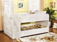 MERRITT TWIN/TWIN BUNK BED IN WHITE [CM-BK921WH-T] This contemporary bunk bed group is finished in white or black and has built in steps to the top bunk and drawers for extra storage. Sale For $799