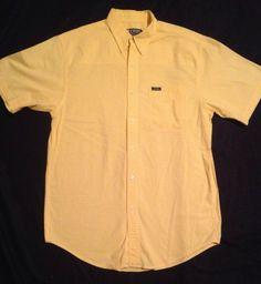 Mens Chaps Ralph Lauren Yellow Checkered Plaid S/S Button Down Casual Shirt M #chaps #ralphlauren #mensplaid