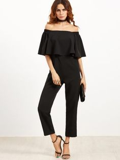 Black Off The Shoulder Ruffle Jumpsuit