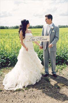just married sign captured by kristilee parish photography http://www.weddingchicks.com/2013/10/02/family-farm-wedding/