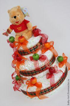 """Подарок новорожденному """"Бэби-торт """"Подарок Винни Пуха"""" - ярко-красный"""