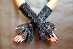Elegant GOTHIC VAMPIRE Victorian Burlesque Evening Glamourlong GLOVES black velvet and lace flounce, fingerless mittens, satin roses