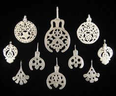 Africa | A collection of old pendants from North Africa (Egypt, Libya and Tunisia).  All high quality silver | Ranging from 35 to 70$