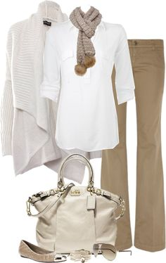 So natural!  Beige Sweater & Purse, White top, Tan Pants & Flats.