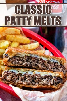 These Classic Patty Melts are full of sautéed onions, a hamburger patty, swiss cheese, and Thousand Island dressing on grilled rye bread. Pork Recipes For Dinner, Mexican Dinner Recipes, Instant Pot Dinner Recipes, Grilling Recipes, Lunch Recipes, Beef Recipes, Hamburger Recipes, Yummy Recipes, Yummy Food