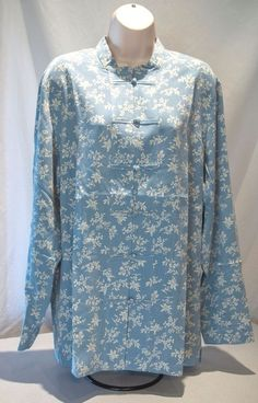 BASIC EDITIONS PLUS WOMANS 1X BLUE FLORAL 3//4 SLEEVE BABYDOLL CAMP BLOUSE NWT