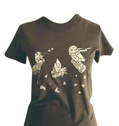 Brown Shirt Owl Shirt  UNISEX clothing  SMALL OWL by boygirlparty