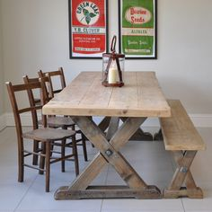 Reclaimed Wood Trestle Dining Table from Home Barn. Love the table but with darker stain and no bench.