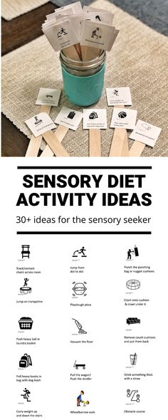 Sensory Diet Ideas for Sensory Seekers Sensory Diet Ideas for Sensory Seekers<br> These Sensory Diet Ideas for Sensory Seekers are helpful if your child struggles with sensory processing disorder and needs extra sensory feedback each day. Sensory Processing Disorder Symptoms, Sensory Disorder, Sensory Therapy, Therapy Activities, Sensory Integration Therapy, Movement Activities, Sensory Diet, Sensory Issues, Proprioceptive Activities